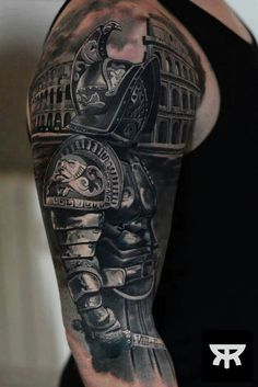 What does gladiator tattoo mean? We have gladiator tattoo ideas, designs, symbolism and we explain the meaning behind the tattoo. Best Sleeve Tattoos, Tattoo Sleeve Designs, Leg Tattoos, Black Tattoos, Body Art Tattoos, Tattoos For Guys, Tattoo Art, Best Tattoo, Tatoos