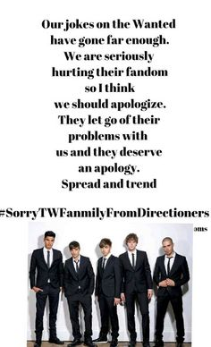 Its about time we apologize as well... #SorryTWFanmilyFromDirectioners