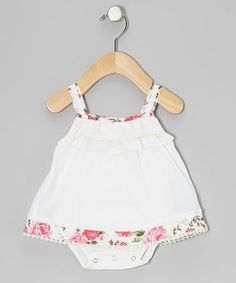 Take a look at this White Embroidered Skirted Bodysuit - Infant by Beetlejuice London on #zulily today!