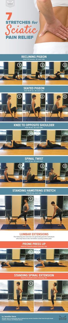 Stretches for Sciatic Pain Relief Your lower back pain could indicate something serious -- but easily fixable!Your lower back pain could indicate something serious -- but easily fixable! Sciatica Stretches, Sciatica Pain Relief, Knee Pain Relief, Sciatic Pain, Muscle Pain Relief, Dance Stretches, Scoliosis Exercises, Stretching Exercises, Fitness Workouts