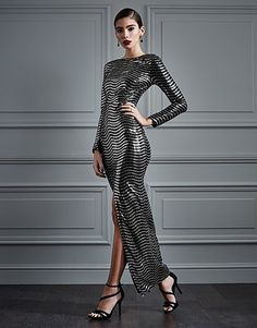 Womens silver rare long sleeve sequin maxi dress from Lipsy - £75 at ClothingByColour.com