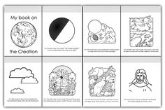 6 days of creation pictures | pages of coloring book. Have children color pictures of the creation ...