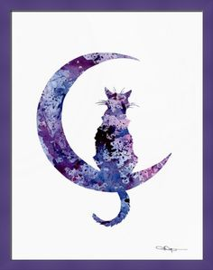 """""""Black Cat Moon"""" by David Rogers, shown with our Confetti 7/8 Purple Cube frame in the medium size.  Head over to www.imagekind.com for more purr-fect prints!"""