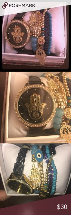 Hamsa watch and evil eye bracelet set Adorable watch with Hamsa on the dial. Comes with matching bracelets Hamsa and Evil eye. Adorable gift set. Accessories Watches