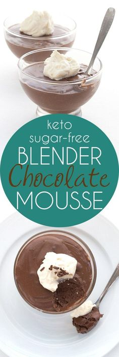 Easy Low Carb Blender Mousse - whip up rich keto chocolate mousse any old time. It's ready in minutes! #keto #lowcarb #sugarfree #ketorecipes via @dreamaboutfood