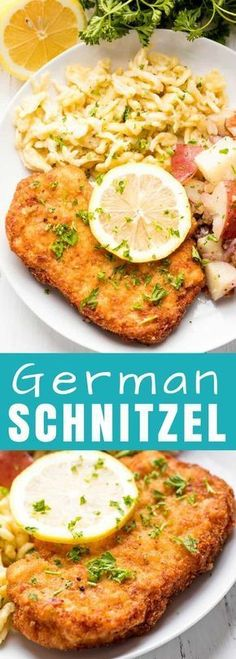Granny's German Schnitzel This Authentic German Schnitzel Recipe has been passed down for generations. Use this same method for pork schnitzel, veal schnitzel (weiner schnitzel), or chicken schnitzel. Top Recipes, Meat Recipes, Yummy Recipes, Chicken Recipes, Dinner Recipes, Cooking Recipes, Healthy Recipes, German Food Recipes, German Recipes Dinner