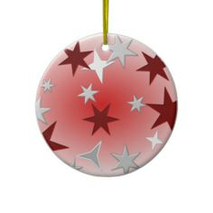 Red Silver Stars Ornament #red #star #ornament #Christmas
