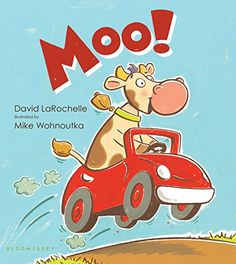 """Q2: What were your favorites books or illustrators from 2014?  Moo! by David LaRochelle illustrated by Mike Wohnoutka .. Review Quote: """"I am a children's librarian, and I get to see a lot of wonderful books. This book is hilarious.""""... #KidLitTV PinParty"""