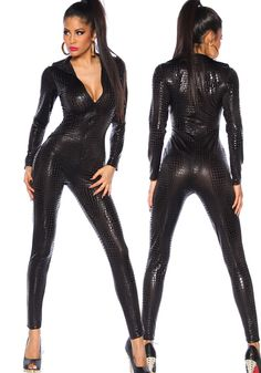 111eab415826 Elaine Sexy Black Catsuit - All in one figure hugging stretch metallic  catsuit with all over animal print and front zip fastening.