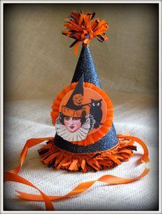 vintage inspired handmade halloween party hat vintage image.