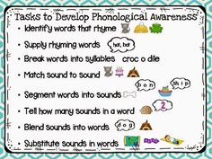 Session handouts 8 easy tasks to develop phonological awareness! Mrs Jump's class: Alphapalooza Session easy tasks to develop phonological awareness! Guided Reading, Teaching Reading, Reading Skills, Reading Test, Reading Fluency, Reading Workshop, Reading Room, Emergent Literacy, Kindergarten Literacy