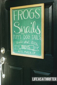 Baby Boy Shower chalkboard sign- I like the what little boys are made of