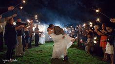 Sparkler exit with a surprise dip! www.ryanandrach.com #VirginiaWedding #virginiaweddingphotographer #wedding