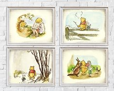 Custom Order Classic Winnie The Pooh Art Print Set Bereavement Gift, Book Page Art, Childrens Wall Art, Poetry Art, Sympathy Gifts, Book Lovers Gifts, Classic Books, Custom Art, Vintage Prints