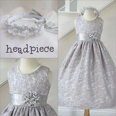 Adorable Silver grey satin wedding graduation flower girl party dress #Dress