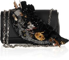 Christian Louboutin 20th Anniversary Artemis Paris Embellished Leather Shoulder Bag in Black - Lyst
