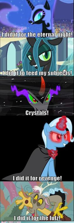 The Villains of Equestria and Their Reasons. Oh Discord. xD