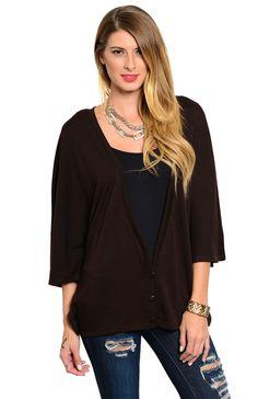 3/4 Kimono Sleeve Button Up Cardigan