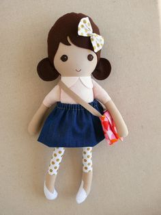 Reserved for Conchita Fabric Doll Rag Doll Brown by rovingovine
