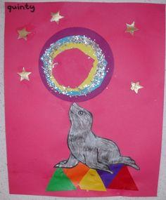Zeehond met bal op zijn neus  In de klas hebben we geoefend met de vormen (driehoek, cirkel etc.)Deze knutselactiviteit sloot hier perfect bij aan. Eerst moesten de kinderen n.a.v een voorbeeld driehoekjes op kleur naleggen. (de trapeze) Vervolgens de zeehond kleuren en erop plakken. Hierna diverse cirkels omtrekken en uitknippen.