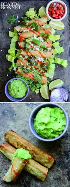 BLACK BEAN FLAUTAS WITH AVOCADO DIPPING SAUCE (GLUTEN FREE & VEGAN) - avocado, black bean, canola, cheese, cilantro, corn, crispy, gluten free, healthy, lime juice, recipes, tortilla, vegan, vegetarian