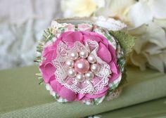 Textile Floral Wrist Corsage Bracelet - Pink, Yellow and Green