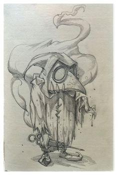 24 #plague #plaguedoctor #doctor #flu #fluseason #medieval #cartoon #character #sketch #art #artist #mikephillipsart #steampunk
