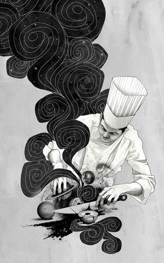 Galactic Chef Art Print by Kyle Cobban - X-Small Food Tattoos, Body Art Tattoos, Tatoos, Koch Tattoo, Cooking Tattoo, Culinary Tattoos, Chef Tattoo, Knife Tattoo, Great Tattoos