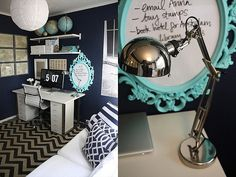 navy walls with white and turquoise accents (bedroom?)