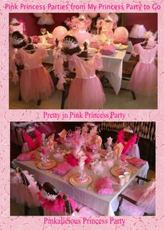 Pink Princess Parties from My Princess Party to Go. #princessparty #pinkparty #princessbirthdaypartyideas