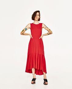 Image 1 of LONG DRESS WITH RUFFLED HEM from Zara