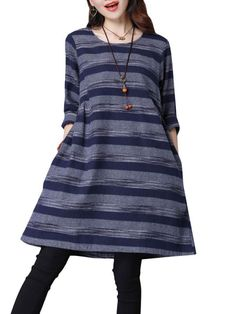 Casual dresses revolve casual women autumn stripe long sleeve loose cotton dress #casual #dresses #bodycon #casual #dresses #hijab #casual #dresses #v #neck #zalando #casual #dresses