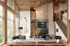 Image result for modern extension to a log cabin