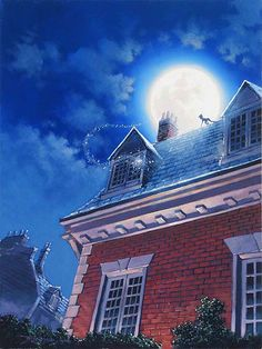 Peter Pan - Peter and Tinkerbell at the Window - Original by Rodel Gonzalez presented by World Wide Art Disney Pixar, Arte Disney, Disney Animation, Disney And Dreamworks, Disney Magic, Wallpaper Peter Pan, Sea Wallpaper, Disney Wallpaper, Peter Pan Disney