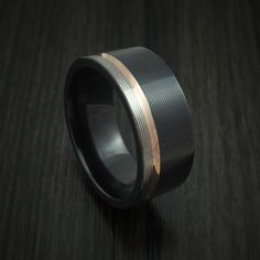 Black Zirconium Ring with 14k Rose Gold Inlay Custom Made Band