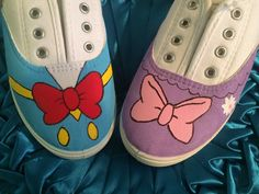 New! Unique Hand Painted Donald Duck & Daisy Duck Disney inspired canvas lace up shoes women's teens kids sz 5 by 41SouthBoutique on Etsy