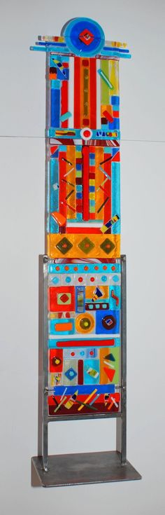 """Blue Eye"" Multi Color Fused Glass Totem Medium 33"" High 6"" Wide"