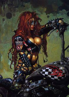 girls cleavage simon heavy metal motorbikes / 1299x1820 wallpaper