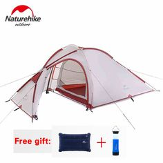 165.00$  Buy now - http://alicps.worldwells.pw/go.php?t=32787734029 - NatureHike Hiby Family Tent 20D Silicone Fabric Waterproof Double-Layer 2 Person 3 Season Aluminum Rod Outdoor Camping Tent