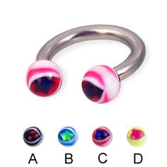 Eye ball titanium circular barbell, 10 ga
