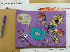 """mrspicasso's art room - Mod Podge Collage Canvas - plus a lesson plan underneath this one for """"block out"""" canvas - the opposite process.  Great project with mixed media."""