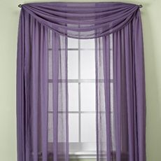 Purple WIndow Curtain Panels Wouldnt Do But I Like The Scarf