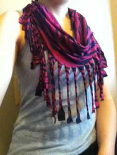 Repurposed T-Shirt into a Fringe Scarf
