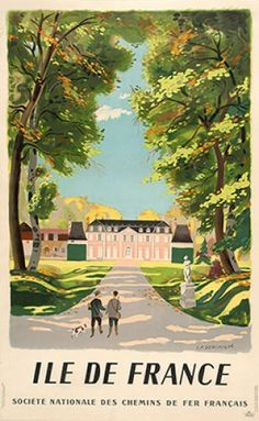 DOMINIQUE, L.F. Ile De France, Societe Nationale des Chemins de Fer Francais.  Original lithograph in colours, linen backed, printed in France for and by the French National Railways, 1945. #travel