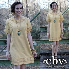 #Vintage #60s Pale #Yellow #Crochet #Mod #Hippie Mini #Dress M L by shopEBV, $60.00