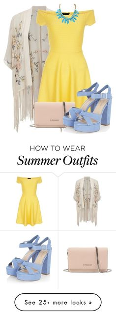 """""""Yellow Summer Dress"""" by hannahmarino1 on Polyvore featuring Miss Selfridge, New Look and Givenchy"""