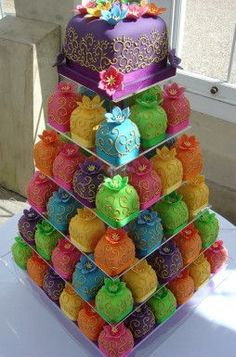 Colorful Wedding Cakes....cute. Each person could have their own little cake basically. Just do it in the wedding colors instead of rainbow...