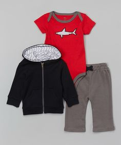 Love this Yoga Sprout Black & Red Shark Bodysuit Set by Yoga Sprout on #zulily! #zulilyfinds