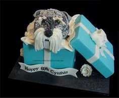 Tiffany box with puppy cake except it'll be a Shihtzu for Tiffany.