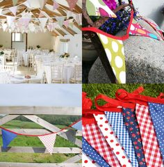 Varieties of bunting (I particularly like top right), courtesy of Bunting with Love